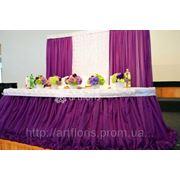 Оформление свадебного фона и стола молодоженов, декор президиума молодых, новинки в свадебном оформлении тканями фото