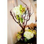 Украшение свадьбы цветами, цветы на столы, букеты, бутоньерки, украшение торта цветами, высокие композиции в мартинницах фото