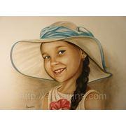 Портрет девочки в шляпке.Сухая кисть в цвете.Портрет на заказ по фото фото