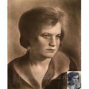 Женский портрет с фото, графический портрет, портрет в графике, черно- белый портрет фото