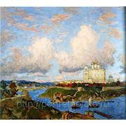 Картина осень в Пскове, художник Горбатов.К.И фото
