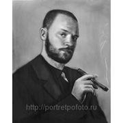 Мужской портрет с сигарой, портрет с фотографии фото