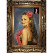 Цветной портрет сухой кистью, дама в перчатках сухой кистью фото