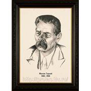 Черно- белый портрет карандашом писателя Максима Горького, портреты писателей фото