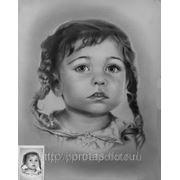 Портрет Анюты сухой кистью, детский портрет сухая кисть фото