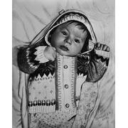 Портрет малышки, портрет сухой кистью фото