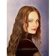 Нарисовать цветной портрет в технике Сухая кисть фото