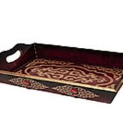 Поднос для подарков и денег на Тойбастар 30 см коричневый фото