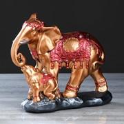 """Статуэтка """"Слон со слонёнком"""", цвет бронзовый, 26 см фото"""