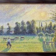 Картина Пастбища, закат, Эрагни, 1890, Писсарро, Камиль фото