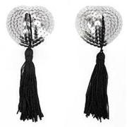 Серебристые пэстисы-сердечки с черными кисточками фото
