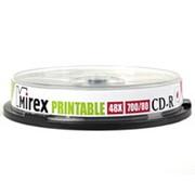 Компакт диск CD-R 700мБ Mirex с поверхностью для струйной печати в тубе 10 шт. фото