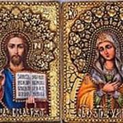 Old Modern Венчальные иконы (пара): Умиление - Спас, копии писаных икон ручной работы под старину 11х15 см фото