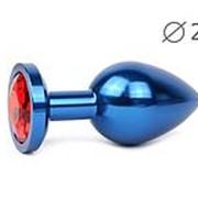 Коническая синяя анальная втулка с красным кристаллом - 7 см. фото