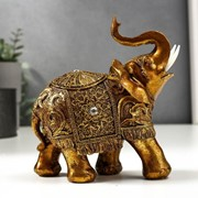 """Сувенир полистоун """"Слон с золотой попоной с узорами и стразой"""" 15х14х7 см фото"""