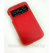 Чехол футляр-книга Melkco для Samsung GT-I9500 Galaxy S IV с окном красный фото