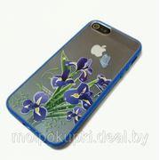 Задняя накладка Color film для iPhone 5 объёмный рисунок + силиконовая вставка прозрачная с синими цветами фото
