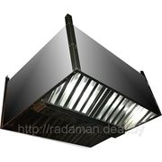 Зонт вытяжной островной с коробом 2000х1000х400 фото