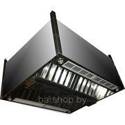 Зонт 1300х1300х400 приточно-вытяжной островной с коробом и подсветкой фото
