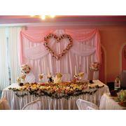 Оформление свадебного зала в розовых тонах, столовая Минского подшипникового завода фото