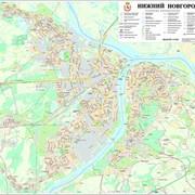Настенная карта г. Нижнего Новгорода (подробность угловая нумерация домов в кварталах) актуальность 2015 г.