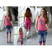 Двойные шорты - джинс+розовый фото