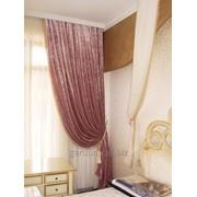 Дизайн и пошив шториз бархата, декорированные бахромой. фото
