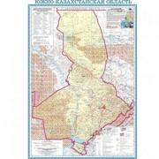 Карта областная ЮКО, масштаб 1:1 000 000, 500*710 мм, не ламинированная фото