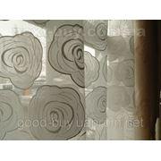 Тюль Полуорганза - с кремовыми розами Турция 25114-2 -1 фото