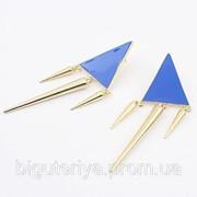 """Серьги """"Синие треугольники с шипами"""" фото"""