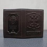 """Кожаная обложка для паспорта """"Православный Крест"""" коричневый фото"""