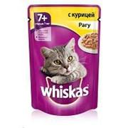 Whiskas 85г пауч Влажный корм для взрослых кошек старше 7 лет Курица (рагу) фото