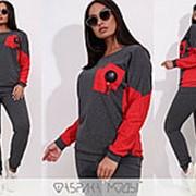 Двухцветный спортивный костюм женский НФ/-001 - Серый фото