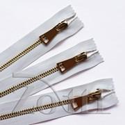 Молния металлическая, №5, белая (золото) - 35 см фото