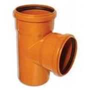 Тройник канализационный 200/200/90 оранжевый фото