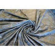 Костюмная ткань набивная Питон- синяя фото
