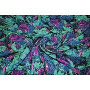 """Плательно - блузочная ткань """" Синие хризантемы"""" фото"""