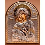 Владимирская икона Божией Матери Серебряная Silver Axion Греция 85 х 105 мм с позолотой на пластиковой основе фото