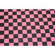 Ткань сумочно - обивочная, черно - розовая клетка.