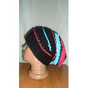 Вязаная шапка женская черная фото