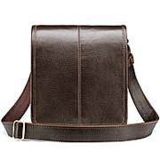 """Кожаная сумка """"Митчел мини"""" (тёмно-коричневая) фото"""