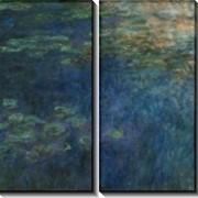 Картина модульная Отражение облаков в пруде с лилиями фото