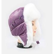 Сиреневая шапка ушанка для девушки мех Кролик белый фото