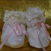 Пинетки вышитые для новорожденных и младенцев на крещение - Одежда и аксессуары детские для крещения. Продажа крестильных наборов, комплектов, крестильной одежды, одежды для крестин, крещения фото