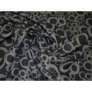 Пальтовая ткань черная с серыми кругами фото