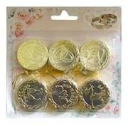 Свадебные монеты с пожеланиями золотые 4см фото