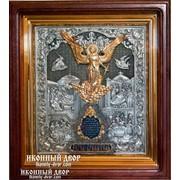 Икона серебрянная Ангел-хранитель в дубовом киоте в Украине Код товара: ОЮЛ-02 фото