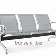 Скамейки металлические секционные- с 2, 3, 4, 5 секциями из цельного перфорированного листа для установки на вокзалах, стадионах, парках фото