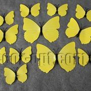 Бабочки пластиковые желтые на магните/липучке 6-12 см 12 шт 7337 фото