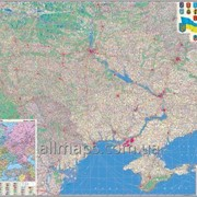 Настенная карта автомобильных дорог Украины 160х110 см; М 1:850 000 - ламинированная/на планках фото